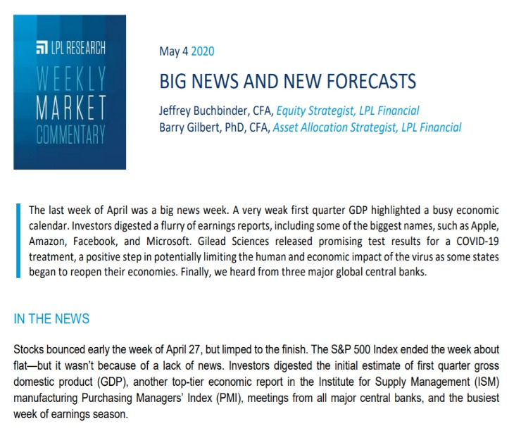 Big News And New Forecasts| Weekly Market Commentary | May 4, 2020