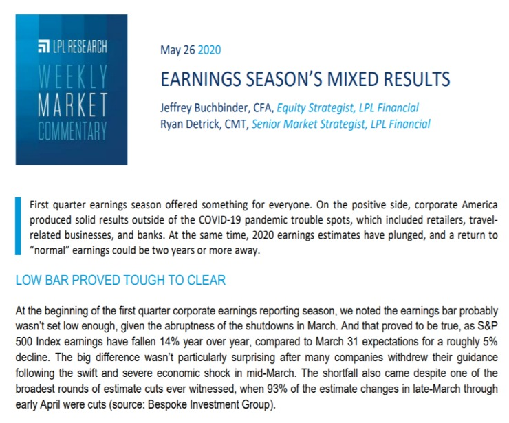 Earnings Season's Mixed Results  Weekly Market Commentary   May 26, 2020
