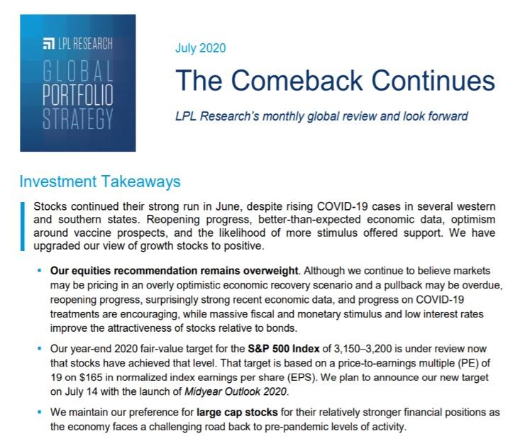 Global Portfolio Strategy   July 10, 2020