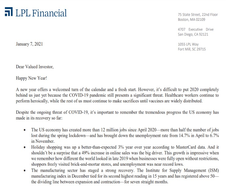 Client Letter   2021 Brings a Fresh Start   January 7, 2021